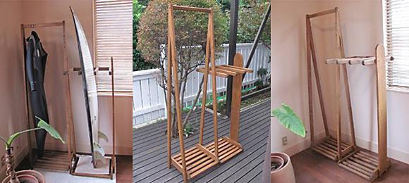 喜亜工房の木製サーフボードラック&ウェットスーツラック