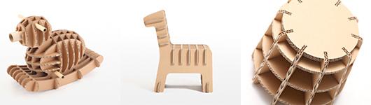 強化ダンボールでデザインされた「つちのこ 子供椅子(キッズチェア)」(ピーター、メリー、スーツル)