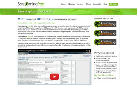 Screaming Frog SEO Spider Toolサイト
