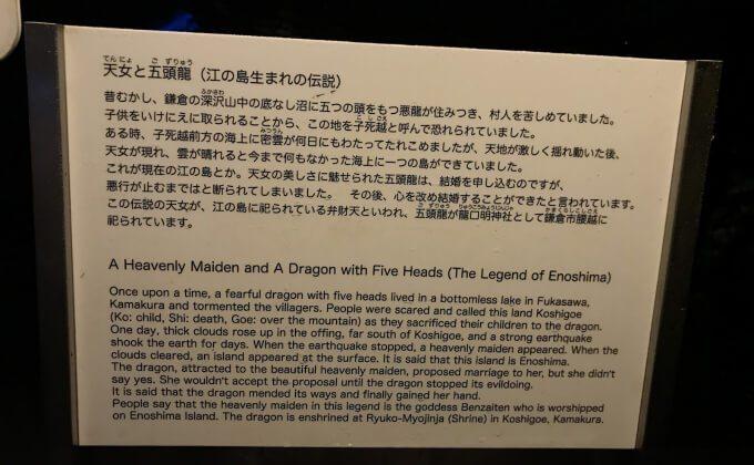 江島神社に祀られている弁財天と5つの頭を持つ龍の伝説が紹介されている