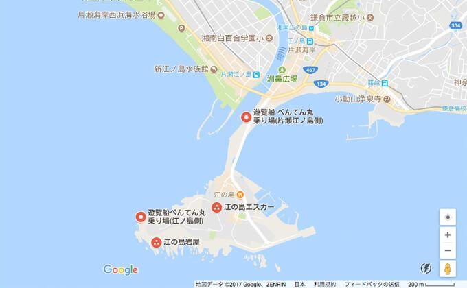遊覧船「べんてん丸」乗り場の地図