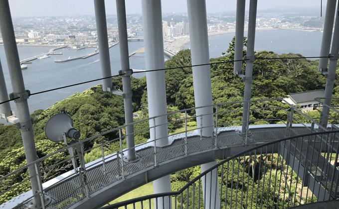 江の島シーキャンドルの階段を降りながら見る景色