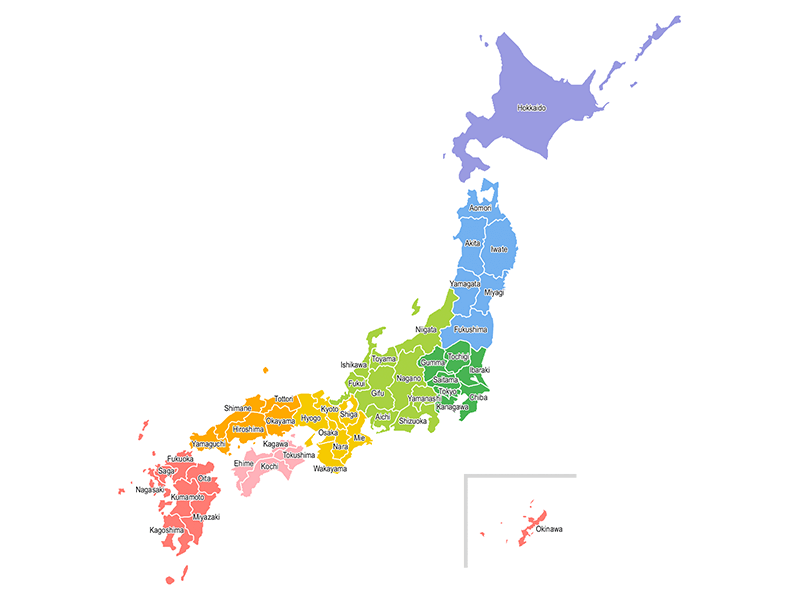 日本地図(都道府県英語表記)